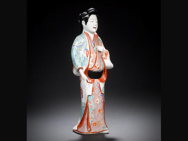 A Kakiemon model of a bijin Edo Period, late 17th century, circa 1670-1680