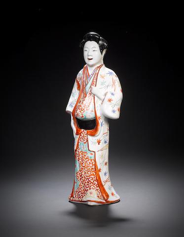 A Kakiemon figure of a bijin Edo Period, late 17th century, circa 1670-1680