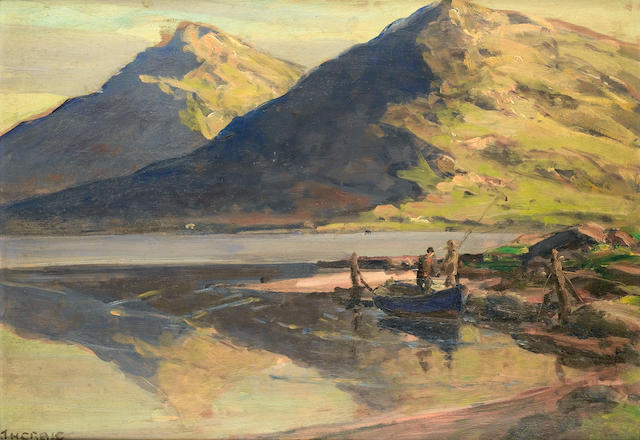 James Humbert Craig (Irish, 1878-1944) Fishing scene 28 x 41.4 cm. (11 x 16 1/4 in.)