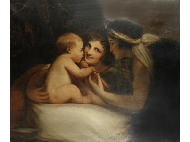 After George Romney, early 19th Century The Infant Shakespeare between Tragedy and Comedy