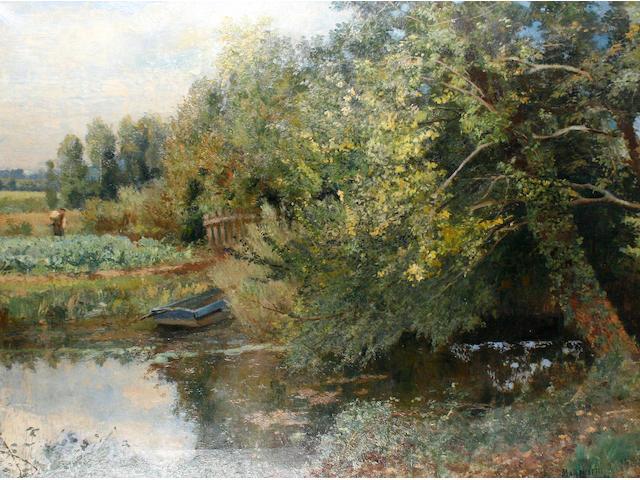 Numa Marzocchi de Belluci (French, active 1878-1922) A figure working in a garden beside a river