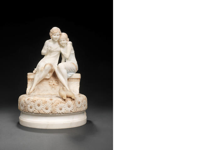 Max le Verrier (signed?????????) An unusual carved alabaster Figural Lamp, circa 1920