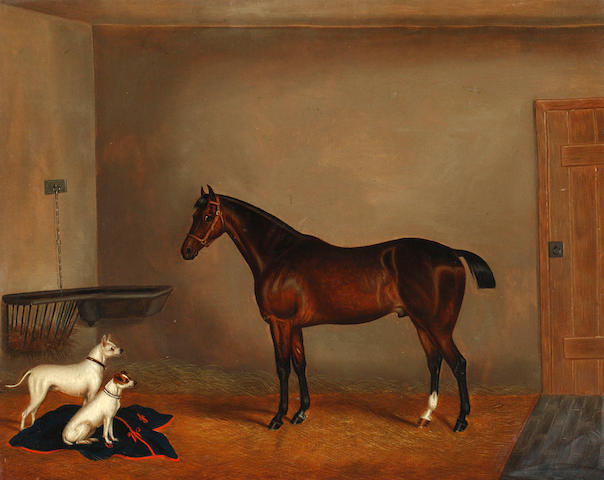 Edwin Loder of Bath (British, 1827-1885) Bay hunter and two terriers in a stable