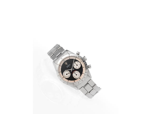 Rolex. A fine and rare stainless steel chronograph wristwatch with original Rolex braceletCosmograph Daytona, Ref:6262, Case No.2533340, Made in 1970, Sold January 1972