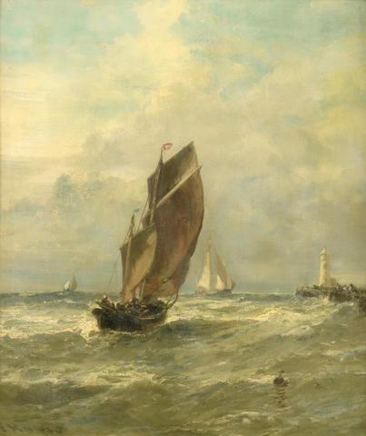 Edwin Hayes, RHA, RI, ROI (British, 1819-1904) Fishing boats, Boulogne