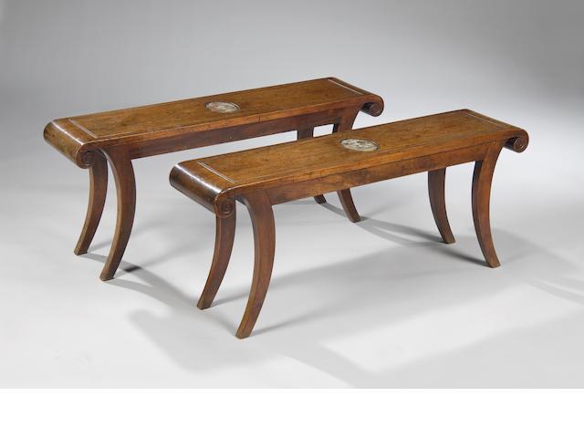 A good pair of late George III mahogany hall seats