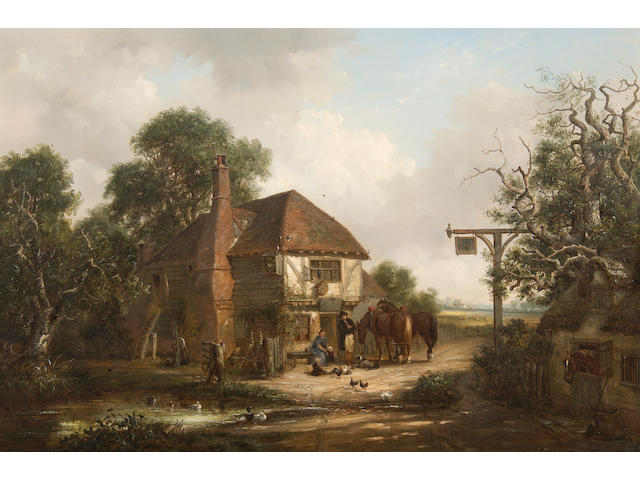 Thomas Smythe (British, 1825-1906) Travellers beside a country Inn