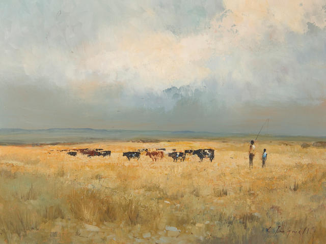 Christopher Tugwell (South African, born 1938) Cattle and herdsmen