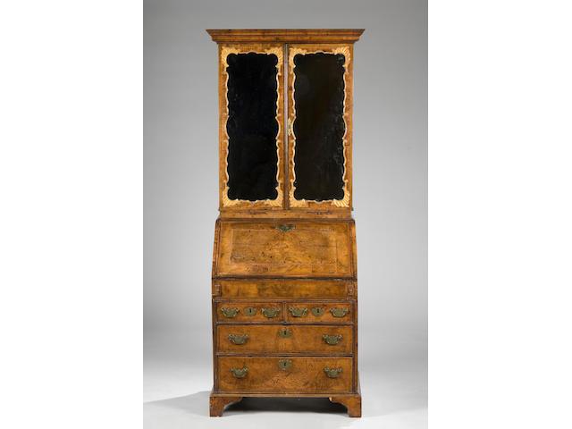 A good George I style walnut bureau bookcase