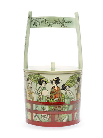 Sally Tuffin 'Women on the Ryogoku Bridge - with acknowledgement to Kitagawa Utamaro', a Japanese inspired lidded Vessel, 2009