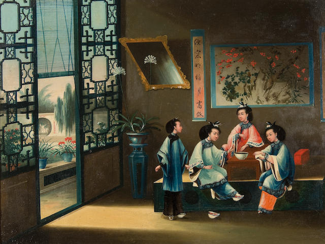 Anglo-Chinese School, late 19th/early 20th Century Ladies seated around a table within an interior