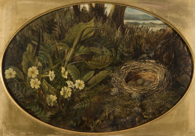 Circle of William Cruickshank (British, 1848-1922) Still life of primroses and bird's nest in a woodland setting