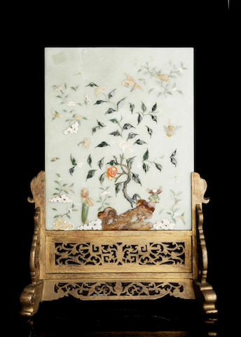 A jade table screen on a hardwood stand 19th century