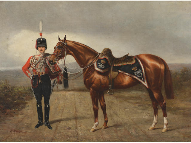 John Chester Mathews (British, fl.1884-1912) 'Westmoreland and Cumberland Yeomanry Officer in Review Order circa 1890'