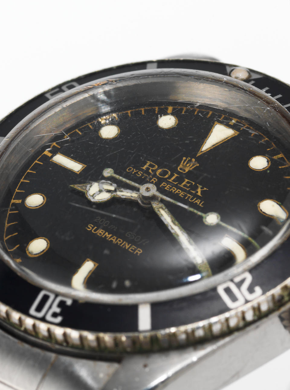 Rolex. A fine and rare stainless steel automatic centre seconds wristwatch together with Royal Navy diving log sheetOyster Perpetual, 200m=660ft, Submariner, Ref:5510, Case No.362252, Made in 1958, Sold in 1958