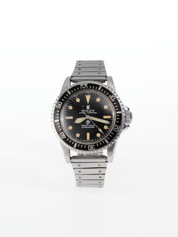 Rolex. A rare stainless steel automatic centre seconds Royal Navy Military Issue divers watchSubmariner, Ref:5513, Case No.3927239, Made in 1972, Issued in 1975