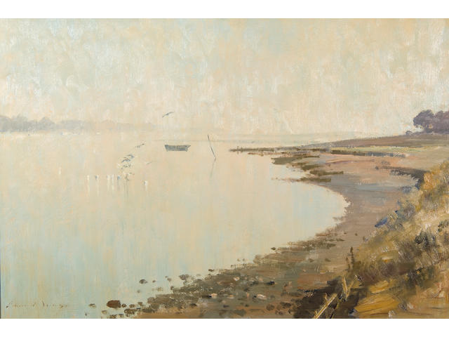 Edward Seago, R.W.S. (British, 1910-1974) September morning on the Orwell