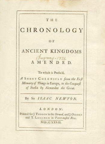 NEWTON (ISAAC)  The Chronology of Ancient Kingdoms Amended