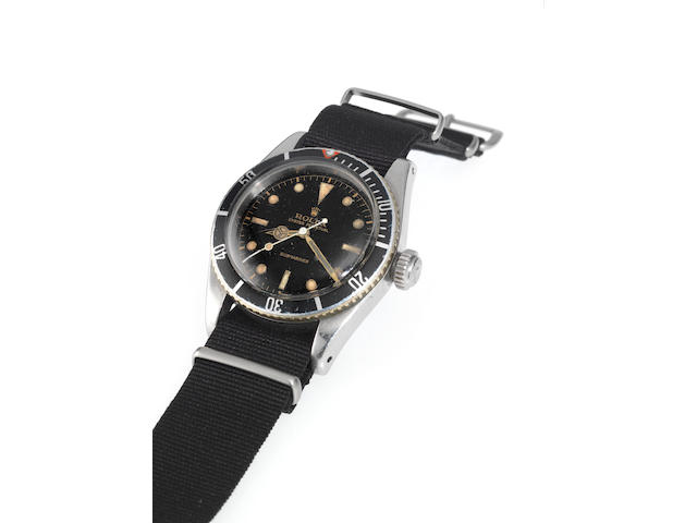 Rolex. A fine and rare stainless steel automatic centre seconds wristwatchOyster Perpetual, 200m=660ft, Submariner, Ref:6538, Case No. 383913, Made in 1958, Sold in 1959