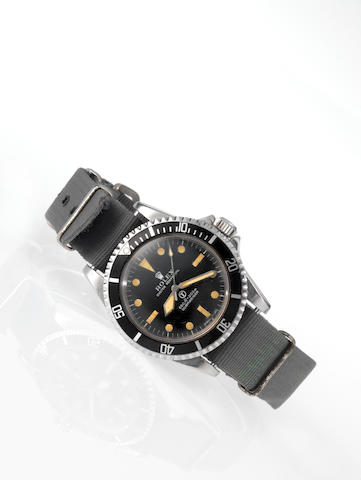 Rolex. A rare and historically interesting stainless steel automatic centre seconds Royal Navy Military Issue wristwatch with photographic records relating to the Falklands WarSubmariner, Ref:5513, Case No.2940826, Made in 1970, Issued in 1972