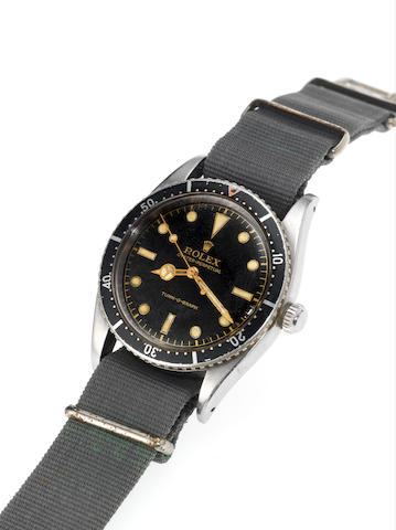 Rolex. A fine and rare stainless steel automatic centre seconds wristwatch with black dial Turn-O-Gr