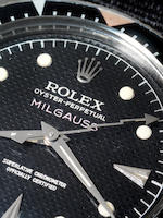 Rolex. A fine and very rare stainless steel automatic wristwatch with 'lightning strike' sweep centr