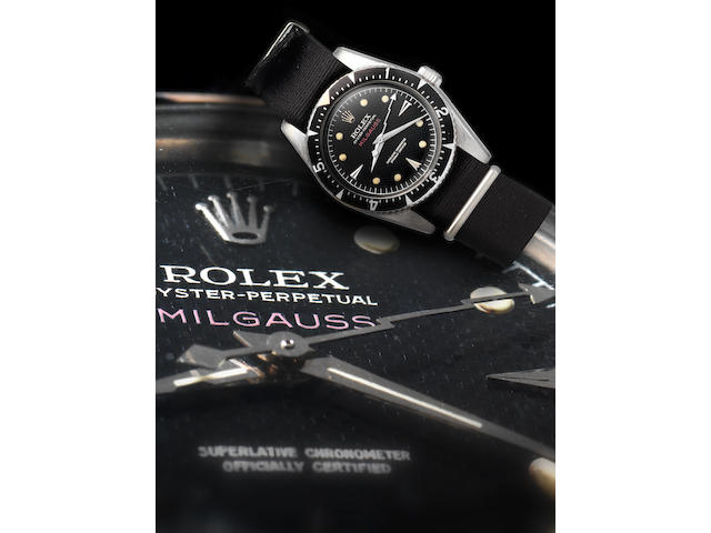 Rolex. A fine and very rare stainless steel automatic wristwatch with 'lightning strike' centre seconds handMilgauss, Ref:6541, Movement No.DN903360, Case No.412022, Made in 1958