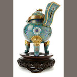 A cloisonné tripod censer and cover on wood stand 19th century