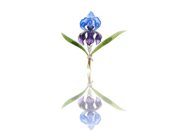 A gem-set iris design brooch, 1960s
