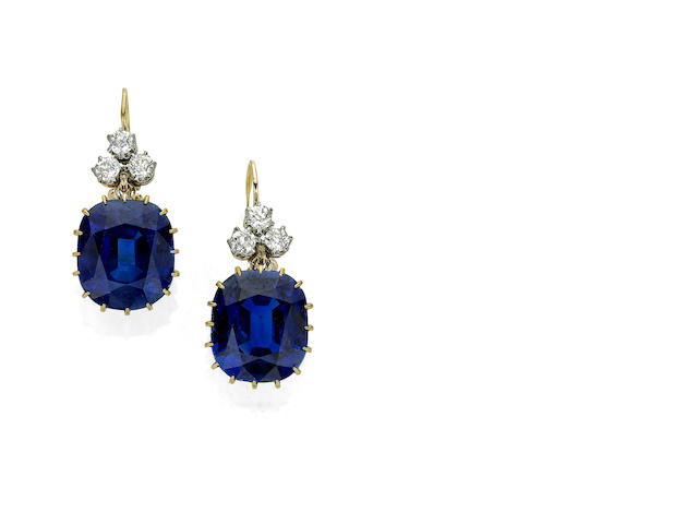 An impressive pair of early 20th century sapphire and diamond earrings
