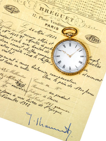 Breguet. A fine and rare late 19th century open face pocket watch made for the Turkish MarketNo.1105, Sold 26th May 1874