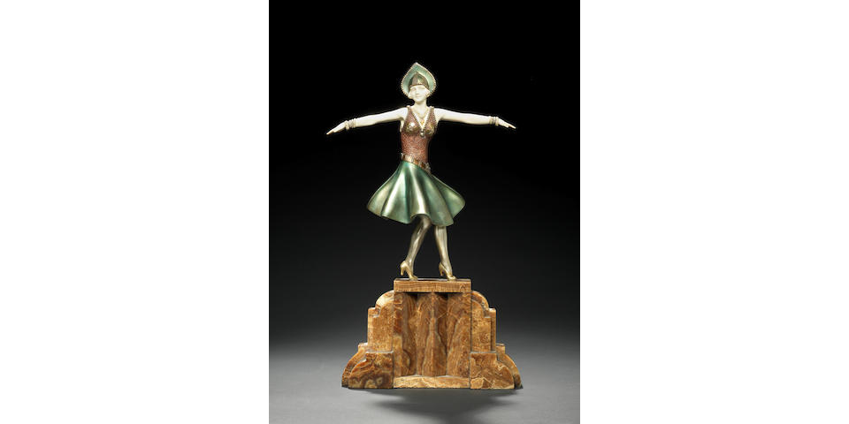 Demetre Chiparus  'Hungarian Dancer' a large carved ivory and cold-painted bronze Figure, circa 1925