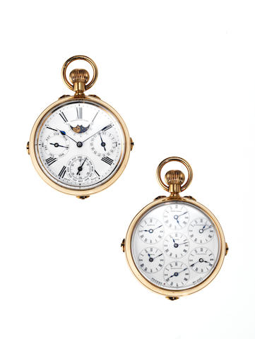 Swiss. A fine and rare 18ct gold late 19th century dual sided astronomical world time calendar pocket watchSwiss Patent No.6585, Circa 1890