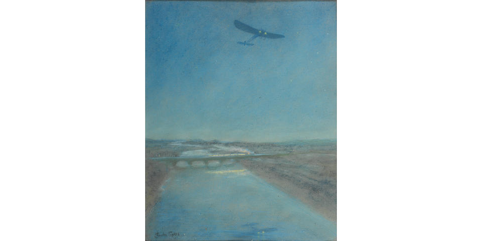 Charles Sykes (1875-1950)'Louis Bleriot Night Flight'