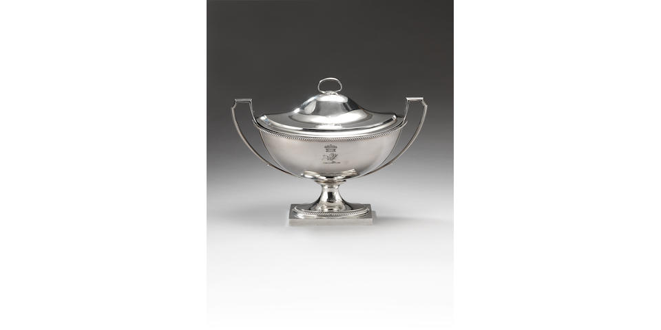 A George III silver two-handled soup tureen and cover, by Paul Storr, London 1799,