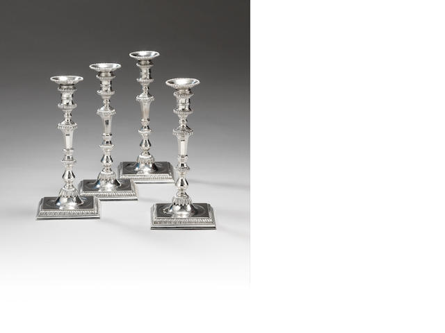 A set of four George III silver candlesticks, by William Cafe, London 1768,  (4)