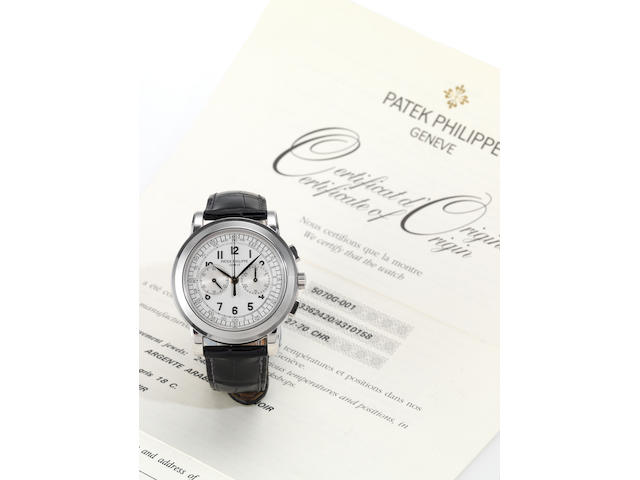 Patek Philippe. A fine and rare 18ct white gold chronograph wristwatch with original certificate and Patek Philippe boxRef:5070, Movement No.336240, Case No.4310158 Sold 22nd September 2005