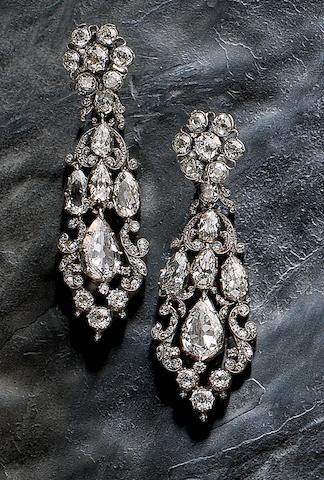 A pair of early 19th century diamond girandole earrings