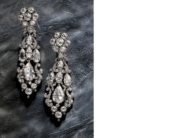A pair of early 19th century diamond girandole earrings