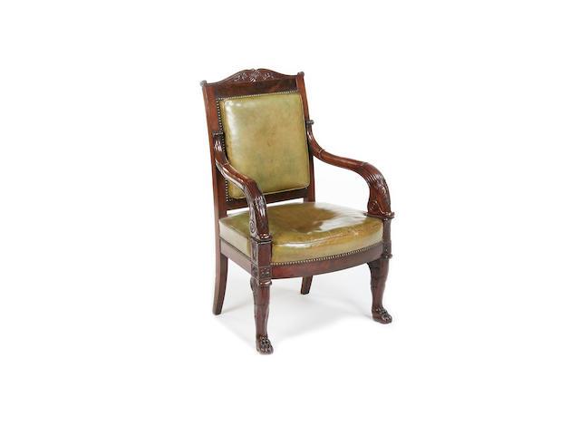 A fine Empire mahogany fauteuil
