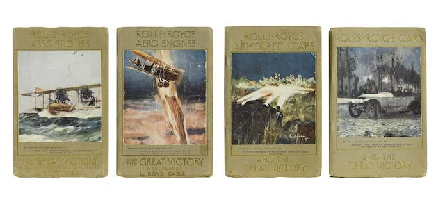 """A rare complete set of all four original """"Rolls-Royce and the Great Victory"""" books, by Boyd Cable, circa 1919,"""