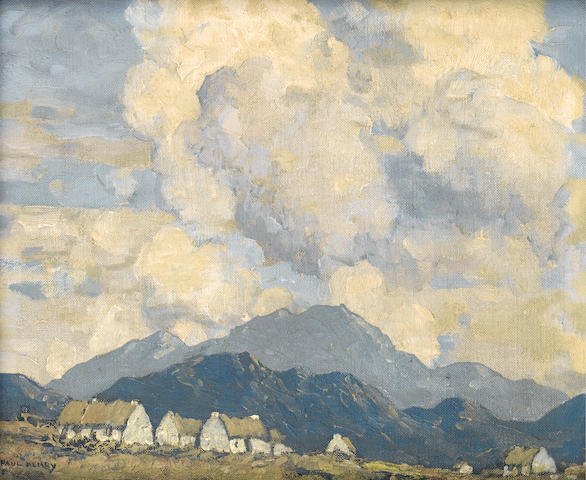 Paul Henry R.H.A. (1876-1958) A village in the mountains 24.5 x 30 cm. (9 3/4 x 11 3/4 in.)