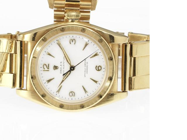 Rolex. An 18ct gold automatic centre seconds bubble back bracelet watch Oyster, Ref:4984, 1949