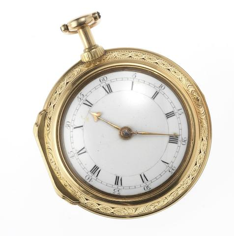 Daniel & Thomas Grignion, London. An early 18th century gilt metal repeating pair case pocket watch London Circa 1740