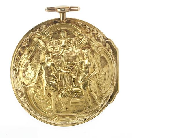 William Duchesne, London. A mid 18th century 22ct gold repousse pair case pocket watch