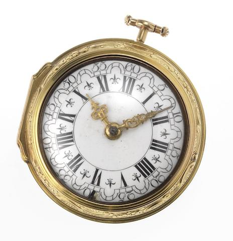 Burnett, London. A late 18th century gilt metal repousse pair case pocket watchLondon Hallmark for 1766