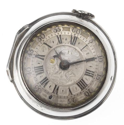 Thomas Furnesse, London. A early 18th century silver pair case calendar pocket watch with champleve dial  Circa 1730