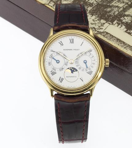 Audemars Piguet. A fine 18ct gold automatic calendar wristwatch with moon phases Ref:C44442, 1980's