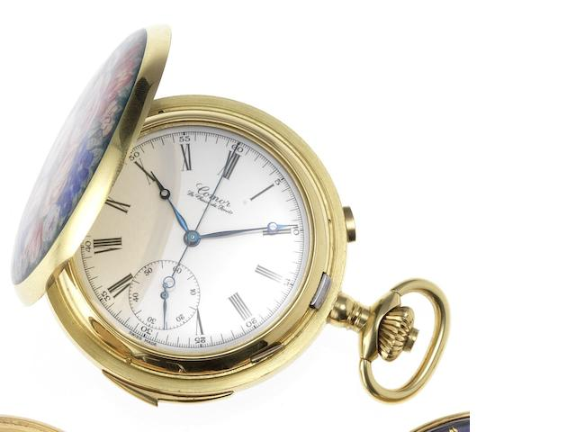 Comor. An 18ct gold and enamel decorated full hunter quarter repeating chronograph pocket watch Recent