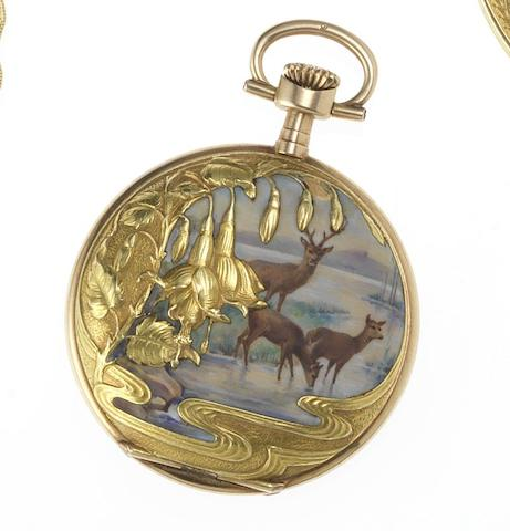 J.Calame Robert. An early 20th century 14ct gold and enamel decorated full hunter fob watch